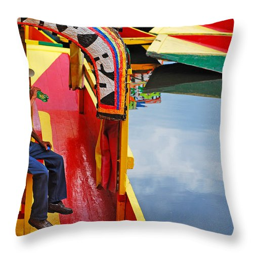 Skip Hunt Throw Pillow featuring the photograph Xochimilco by Skip Hunt