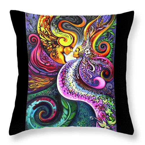 Xochiquetzal Throw Pillow featuring the painting Xochiquetzal by Laura Zollar