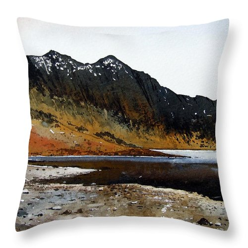 Watercolour Throw Pillow featuring the painting Y Lliwedd Ridge From Lake Llyn Llydaw by Paul Dene Marlor