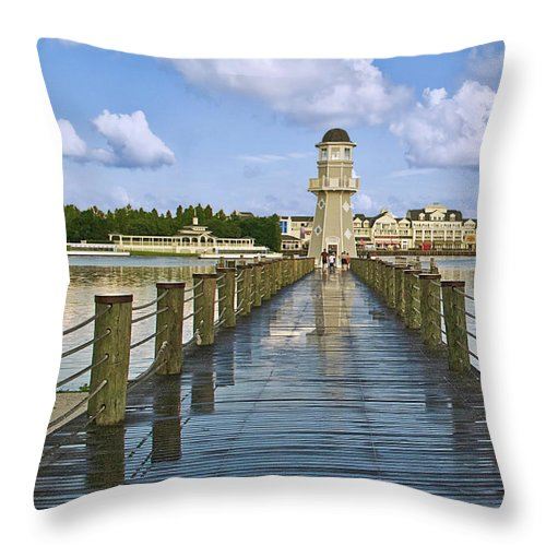 Lighthouse Throw Pillow featuring the photograph Yacht And Beach Club Lighthouse 02 by Thomas Woolworth