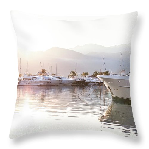 Yacht Throw Pillow featuring the photograph Yachts At The Sunset by Marina Andrejchenko