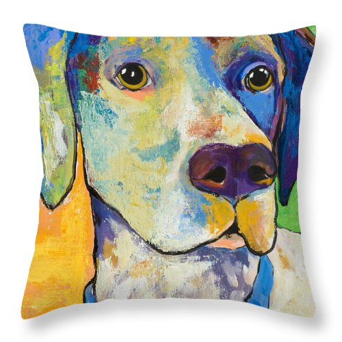 German Shorthair Animalsdog Blue Yellow Acrylic Canvas Throw Pillow featuring the painting Yancy by Pat Saunders-White