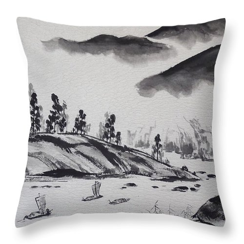 Chinese Throw Pillow featuring the painting Yangze River by Birgit Moldenhauer