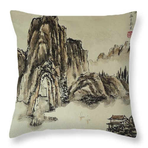 Chinese Throw Pillow featuring the painting Yangze River In Autumn by Birgit Moldenhauer