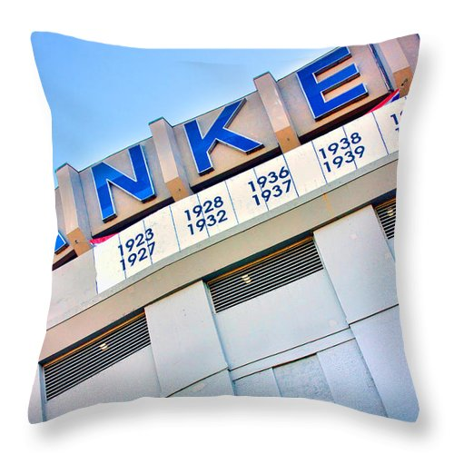 Yankees Throw Pillow featuring the photograph Yankee Stadium by June Marie Sobrito