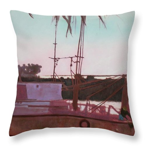 Seascape Throw Pillow featuring the digital art Yankee Town Fishing Boat by Hal Newhouser
