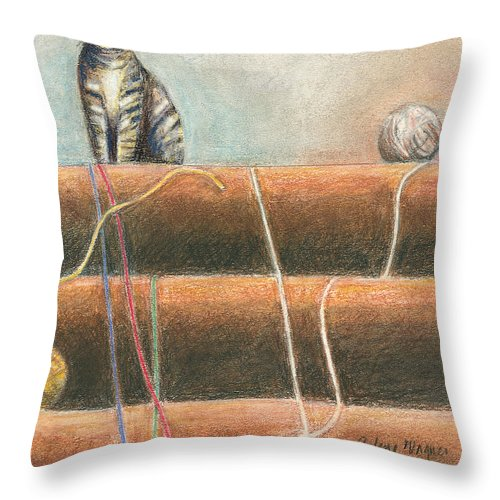 Cat Throw Pillow featuring the pastel Yarn...what Yarn by Arline Wagner
