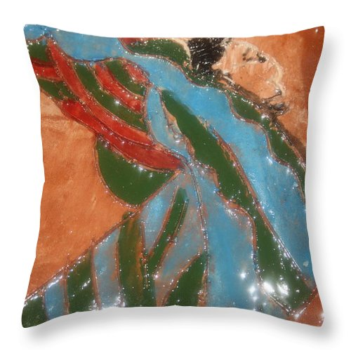 Jesus Throw Pillow featuring the ceramic art Yawn And Stretch - Tile by Gloria Ssali