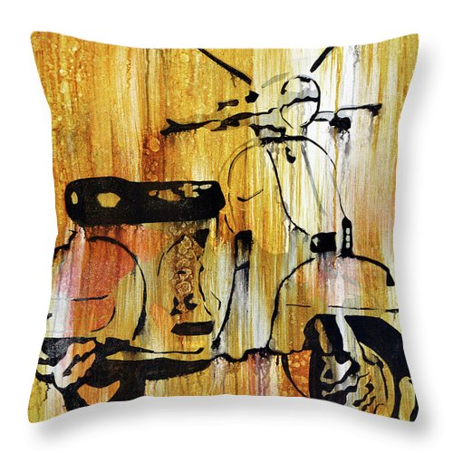 Mixed Media Throw Pillow featuring the painting Yeah It's A Vespa by Brad Jensen