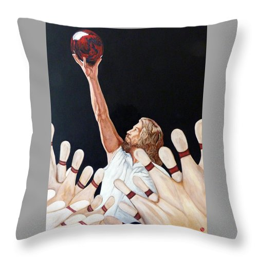 Dude Throw Pillow featuring the painting Yeah Yeah Oh Yeah by Tom Roderick