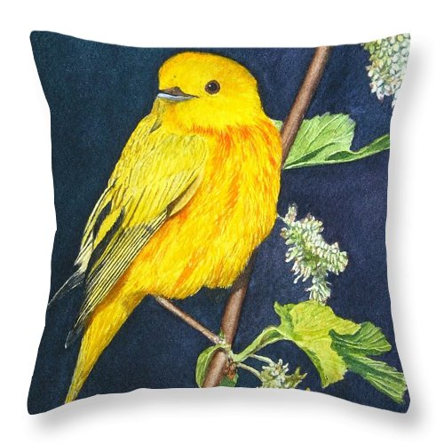 Bird Throw Pillow featuring the painting Yelllow Warbler by Sharon Farber