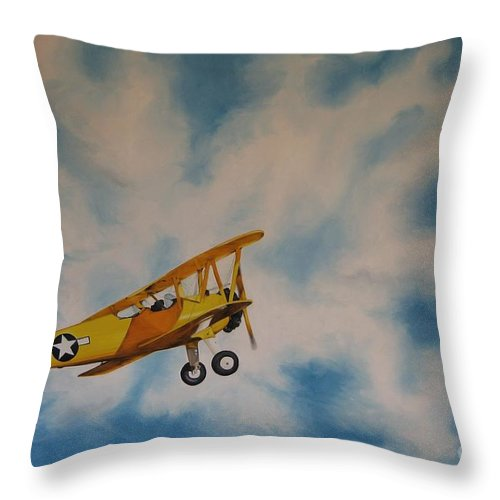Noewi Throw Pillow featuring the painting Yellow Airplane by Jindra Noewi