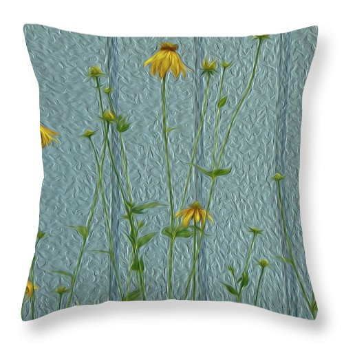 Yellow Throw Pillow featuring the digital art Yellow And Blue by Leah Mealing