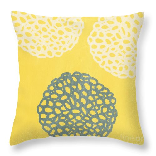 Yellow Throw Pillow featuring the painting Yellow And Gray Garden Bloom by Linda Woods