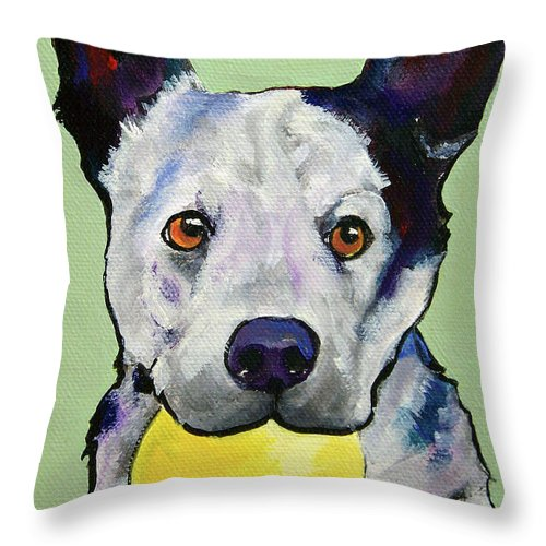 Australian Cattle Dog Throw Pillow featuring the painting Yellow Ball by Pat Saunders-White