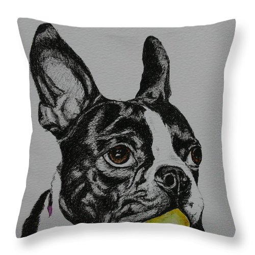 Boston Terrier Throw Pillow featuring the mixed media Yellow Ball by Susan Herber