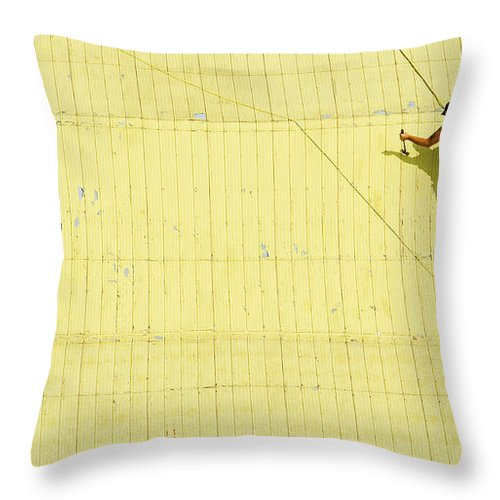 Yellow Throw Pillow featuring the photograph Yellow Barn Roof Workers-4 by Steve Somerville
