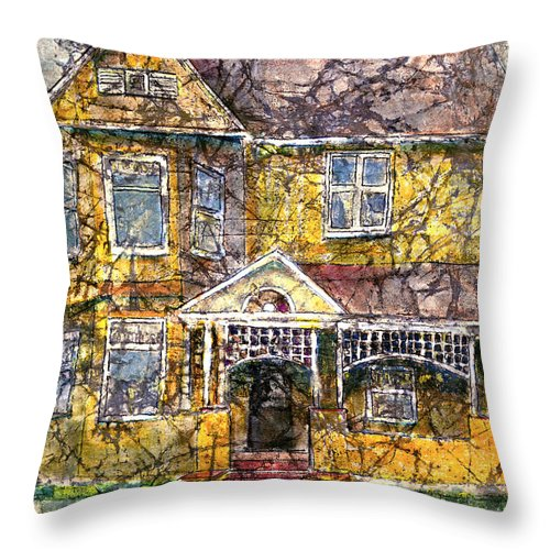 House Throw Pillow featuring the mixed media Yellow Batik House by Arline Wagner