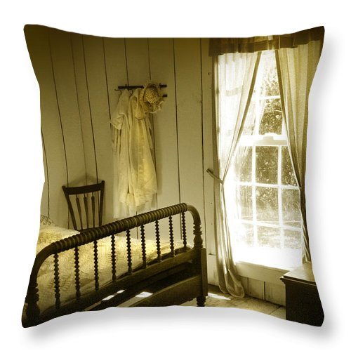 Bedroom Throw Pillow featuring the photograph Yellow Bedroom Light by Mal Bray