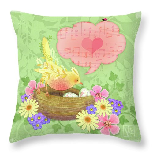 Yellow Love Throw Pillow : Yellow Bird s Love Song Throw Pillow for Sale by Valerie Drake Lesiak