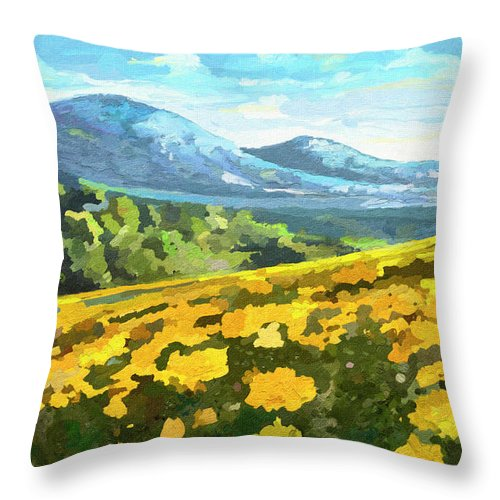 Kenya Throw Pillow featuring the painting Yellow Blanket by Anthony Mwangi