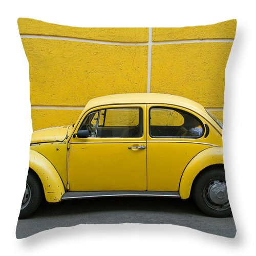 Yellow Throw Pillow featuring the photograph Yellow Bug by Skip Hunt