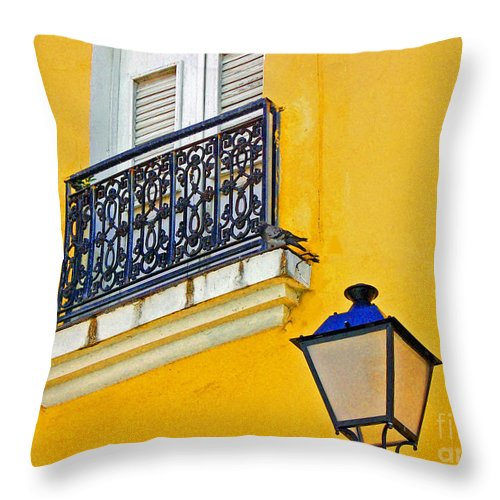 Pigeon Throw Pillow featuring the photograph Yellow Building by Debbi Granruth