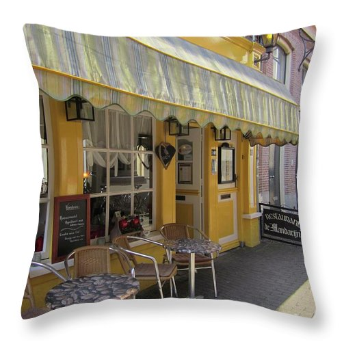 Cafe Throw Pillow featuring the photograph Yellow Cafe by Kat Cortez