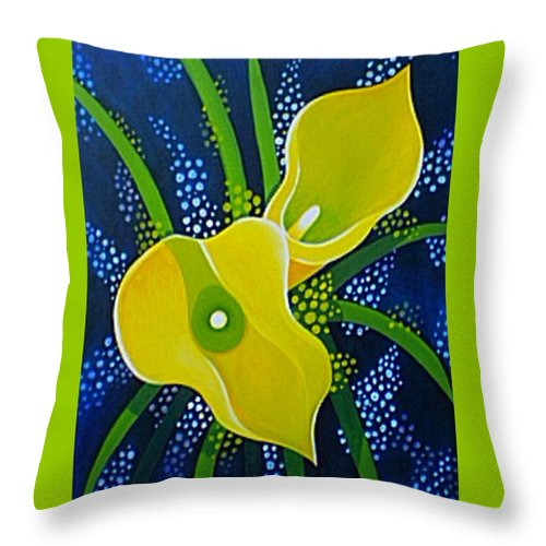 Lily Throw Pillow featuring the painting Yellow Callas by Helena Tiainen