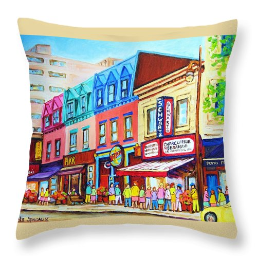 Reastarant Throw Pillow featuring the painting Yellow Car At The Smoked Meat Lineup by Carole Spandau