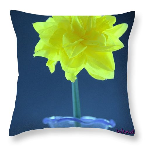 Flower Throw Pillow featuring the photograph Yellow Daffodil by Wendy Fox