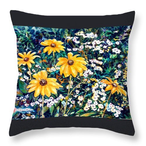 Daisies Throw Pillow featuring the painting Yellow Daisies by Norma Boeckler
