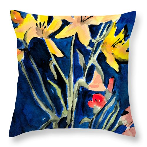 Flower Throw Pillow featuring the painting Yellow Daylilies by Arline Wagner