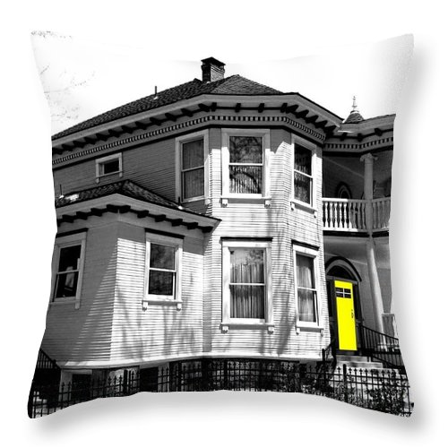 House Throw Pillow featuring the digital art Yellow Door by Will Borden