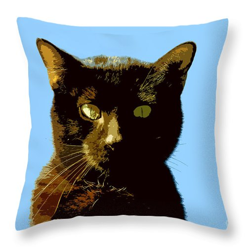 Cat Throw Pillow featuring the painting Yellow Eyes by David Lee Thompson