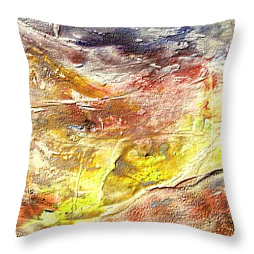 Yellow Field Throw Pillow featuring the painting Yellow Field by Dragica Micki Fortuna