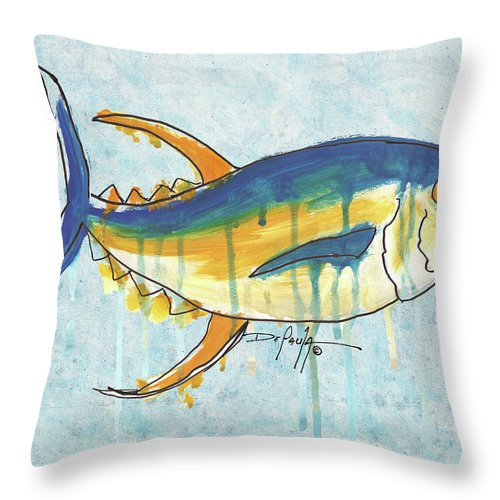 Fish Art Throw Pillow featuring the painting Yellow Fin Tuna by William Depaula