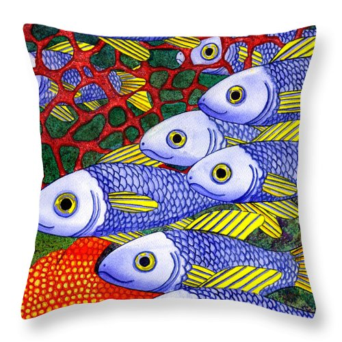 Throw Pillow Placement : Yellow Fins Throw Pillow for Sale by Catherine G McElroy