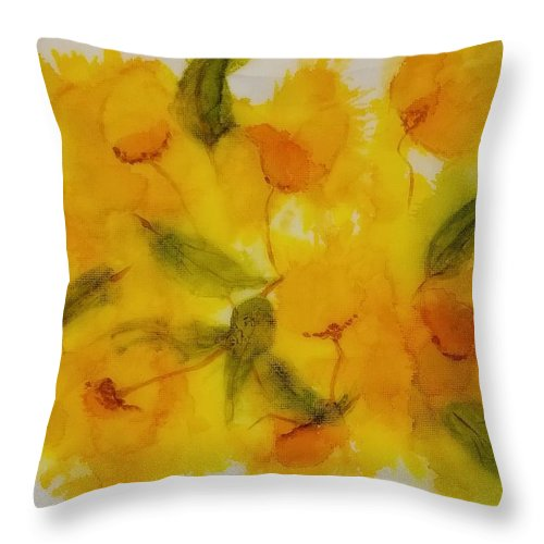 Alcohol Ink Abstract Floral Yellow Throw Pillow featuring the painting Yellow Floral by Donna Perry