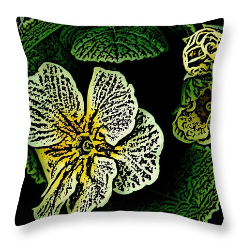 Floral Throw Pillow featuring the digital art Yellow Flower Woodcut by David Lane