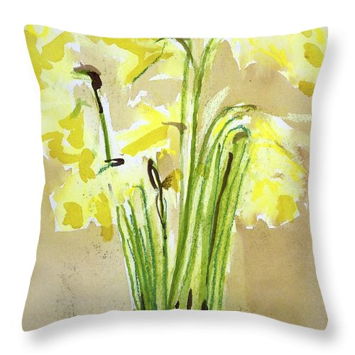 Throw Pillow featuring the painting Yellow Flowers In Vase by Kathleen Barnes