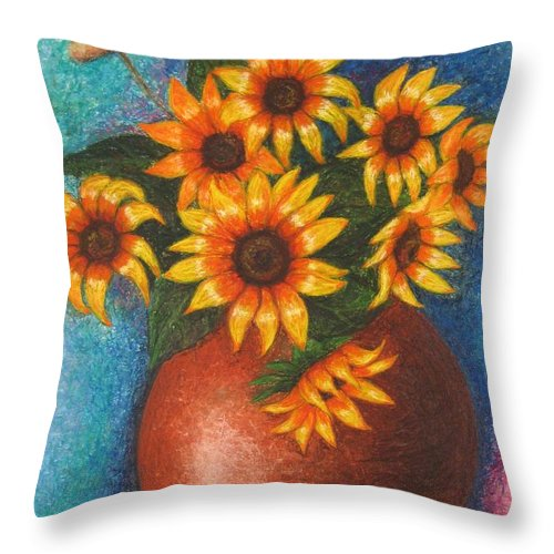 Sunflower Throw Pillow featuring the pastel Yellow Flowers by Stella Velka