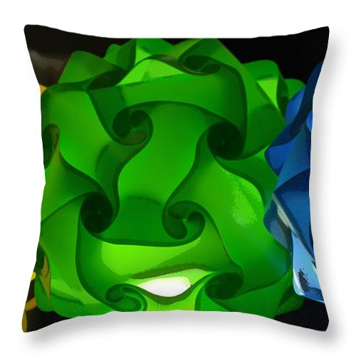 Balls Throw Pillow featuring the photograph Yellow Green And Blue by Lori Seaman