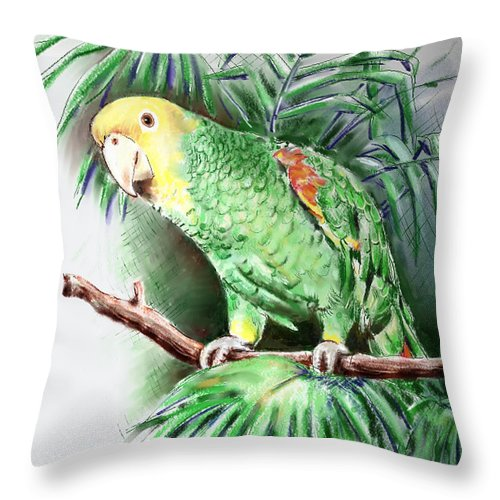 Bird Throw Pillow featuring the digital art Yellow-headed Amazon Parrot by Arline Wagner