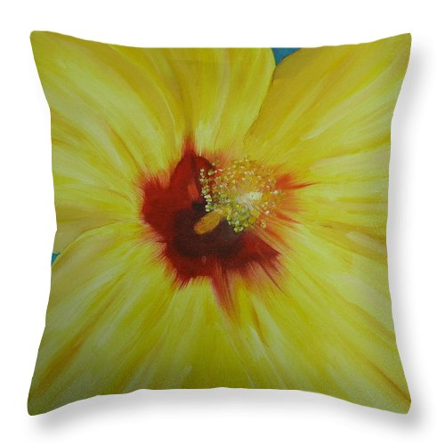 Flower Throw Pillow featuring the print Yellow Hibiscus by Melinda Etzold