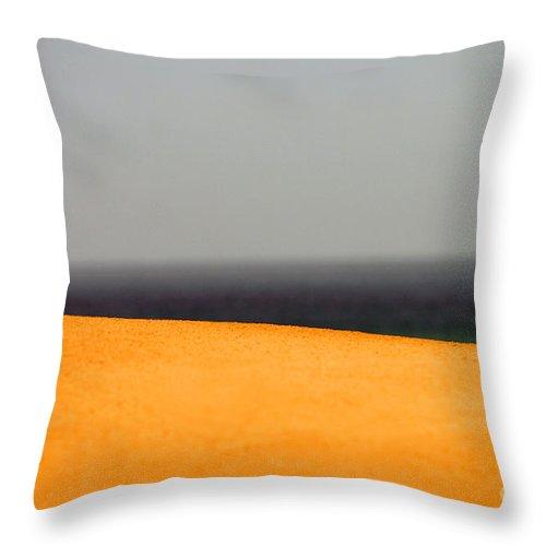 Yellow Throw Pillow featuring the photograph Yellow Horizon by Hana Shalom