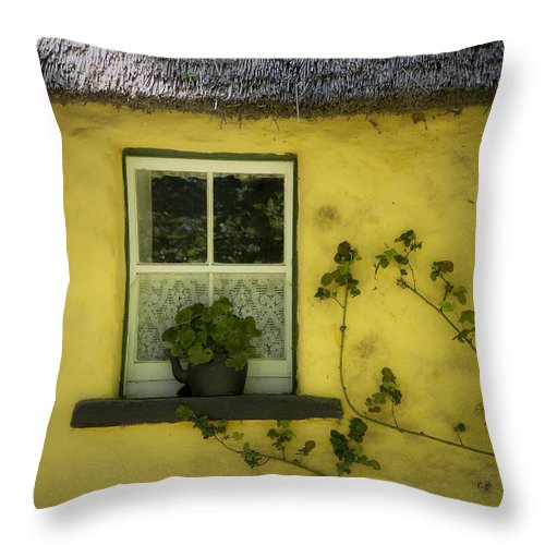 Irish Throw Pillow featuring the photograph Yellow House County Clare Ireland by Teresa Mucha