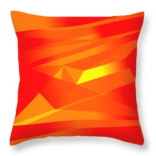 Red Throw Pillow featuring the digital art Yellow In Red by Helmut Rottler