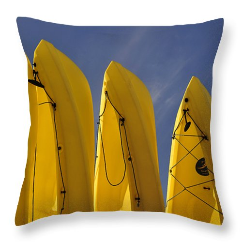 Fine Art Photography Throw Pillow featuring the photograph Yellow Kayaks by David Lee Thompson