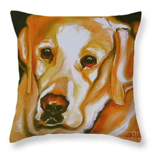 Oil Throw Pillow featuring the painting Yellow Lab Amazing Grace by Susan A Becker